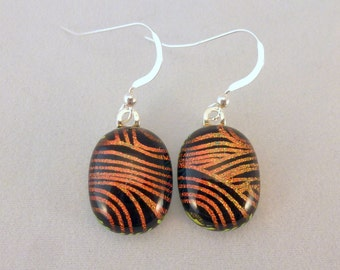 Orange and Black Dichroic Fused Glass Dangle Earrings, Fused Glass, Fused Glass Earrings, Glass Earrings, Dichroic, Dangle Earrings