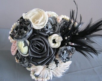 Wedding Bouquet - Fabric Bouquet - Ivory/Blush/Black Satin Fabric Flower Wedding Bouquet - Bridal Bouquet