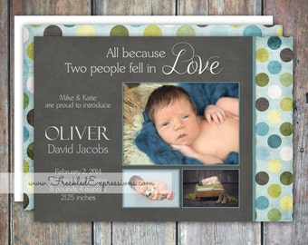 Baby Boy Birth Announcement - Blue Love