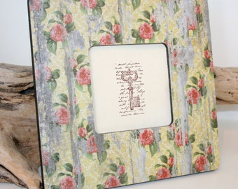 Shabby chic Photo Frame, Cottage Style Picture frame, Yellow floral frame