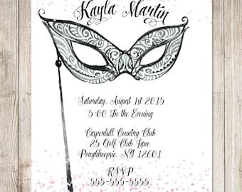 Masquerade Wedding Invitation Masquerade Ball Invitation
