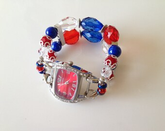 4th of July Double Stranded Red White & Blue Beaded Watch Band Set (261)