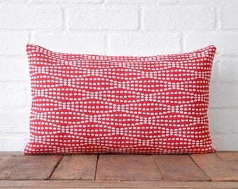 Red and White Polka Dots & White Cotton Lumbar Pillow