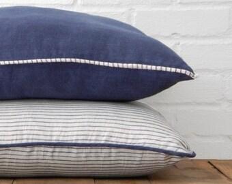 Navy Linen Stripe Throw Pillow Set of Two