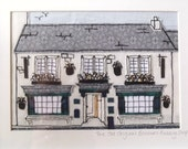 RESERVED The Old Bakewell Pudding Shop, Lovely, Freehand Machine Embroidered Applique and Hand Sewn  Piece of Art