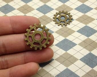 20pcs Gear Mechanical Watch Movement Antique Bronze Charms 25mm