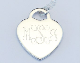 Custom Engraved Heart Charm Necklace, Personalized Bridesmaid Necklace, Personalized Jewelry