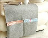 Grey felt sofa armrest cover with large pockets for magazines and books, grey felt pocket organizer, armchair remote control holder