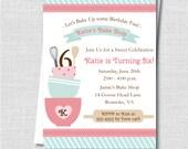 Bake Shop Birthday Party Invitation - Bake Shop Themed Birthday - Digital Design or Printed Invitations - FREE SHIPPING