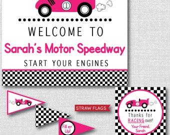 Girl Race Car Printable Birthday Party Kit - Pink Race Car Birthday Party - DIGITAL DESIGN