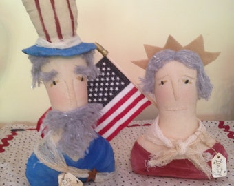Set of Two Primitive Americana 4th of July Uncle Sam and Betsy Ross Table Sitter Doll Deocorations