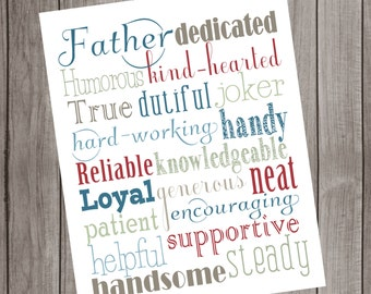 Father (Grandfather, Husband, etc.) Subway Art PRINTABLE: Instant Download or Customized printable