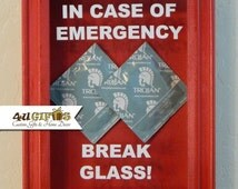 In Case of Emergency Break Glass, Shadow Box, Dorm Room, Gift for Guys, Funny Gift, Unique Gift, DIY Gift, Condom