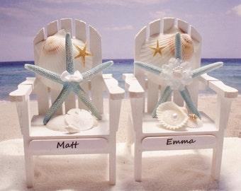 Starfish Adirondack Chairs - Beach Themed Wedding - Personalized Cake Topper - Starfish Cake Topper
