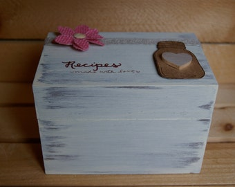 Rustic mason jar recipe Box-3x5. Standard size box with dividers. distressed. handpainted.