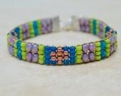 Loomed Beaded Bracelet . South Western . Czech Glass . Friendship Bracelet . Multi Colors . Sterling Charm