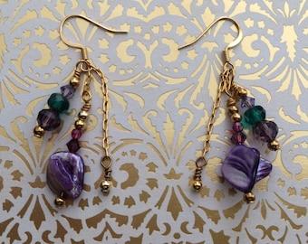 Purple Shell Earrings