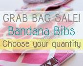 GRAB BAG,  SALE, Mystery bag, Bibs chosen at random - 5, 8, 10, 12 or 15 bibs,  Baby bandana bibs, Drool bib, Dribble bib,  Bibdana, Funky