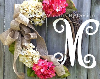 Hydrangea Wreath-Front Door Wreath -Monogram Wreath- Wreath-Summer Door Wreaths-Spring Wreath-Outdoor Wreath-Grapevine Wreath