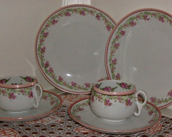 Vintage Set of 2 of Teacups, Saucers and Dessert Plates