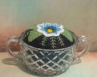 Handmade Pincushion Felted Wool Blue & White Blossom in Sugar Bowl