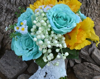 handmade artificial flower wedding bridal bouquet yellow blue sunflower rose