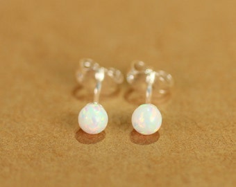 Opal earrings - opal ball earrings - opal stud - opal ball studs - fire opal - a set of white fire opal balls set onto sterling silver posts