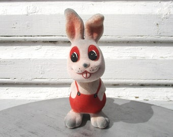 Flocked Bunny Toy Rabbit, Estonian Gift, Soft Polymer Toy Animal, Soviet USSR Cute Authentic Toy, Collectible