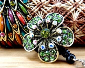 Green Plumeria Badge Reel - Retractable Badge Holder - Nurse Badge Holder - Birthday Gift for August - Retractable Badge Reel - Nurse Gifts