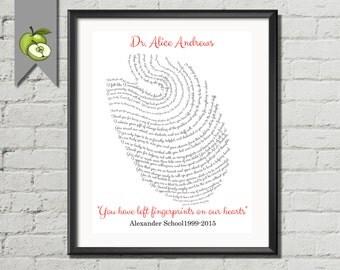 Teacher Appreciation, memories, art printable, You left fingerprints, on our hearts, retirement gift for teacher, class messages wordart