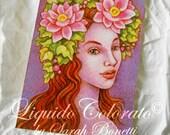 Flower Fairy, Fantasy Art, Lotus Ivy Fairy - Original watercolor -  ACEO - OOAK