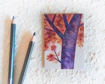 ACEO/Tangerine Tree/Magic Illustration/original watercolor/OOAK/Children/wall decor  CIJ