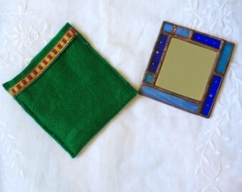 HANDMADE POCKET MIRROR   Unique Blue Colors with Special Handcrafted Case. Tiffany Stained Glass Hand Mirror,Sweet Vitrage Girls/Womens Gift