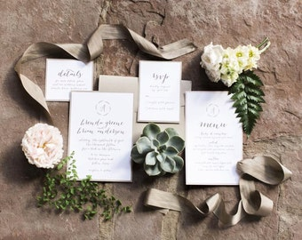 Romantic & Simple Neutral Calligraphy Wedding Invitation Ensemble (50 Invites)