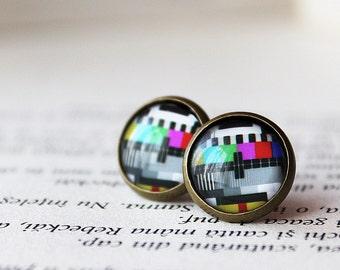 TV Test Card Earrings - TV Stud earrings - Television test signal jewelry -Test Pattern Earrings