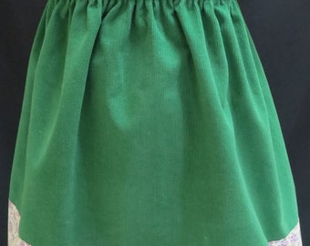Girls Winter Skirt, 3 Sizes Available, Green Corduroy, Floral