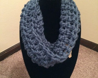 Handmade Crochet Cowl (Denim)