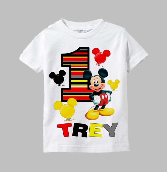 Mickey mouse birthday shirt mickey mouse shirt mickey for Baby custom t shirts