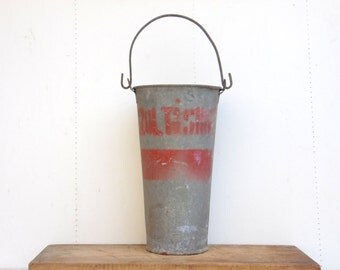 Antique Galvanized Zinc Bucket - Hungarian Fireman Bucket - Garden Planter - Rustic Garden Decoration