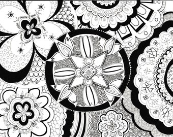 Zen-out Mandala Colouring Page Instant Download