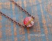 Red Crackle Bead Necklace,Your Choice Chain Length, Copper, Industrial Style Jewelry, Magic, Crystal Ball