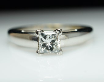 SALE - Vintage Solitaire Princess Cut Diamond Engagement Ring 14k White Gold Simple Estate Engagement Ring Jewelry