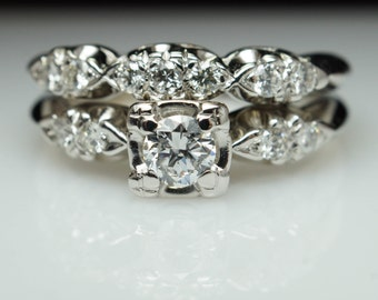 Vintage Art Deco Diamond Bridal Set Engagement Ring & Matching Wedding Band Art Deco Ring Set Wedding Set Vintage Antique