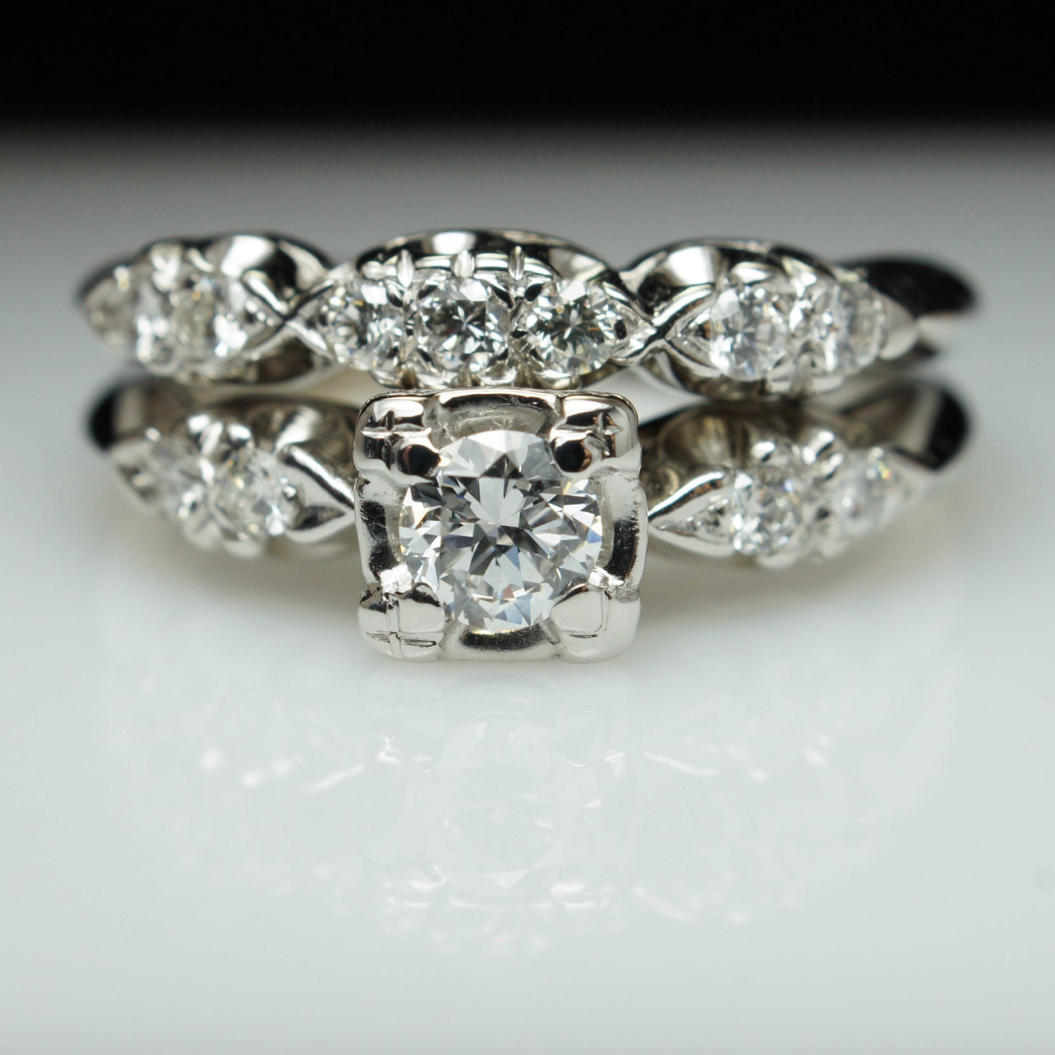 Vintage Wedding Ring Sets: Vintage Art Deco Diamond Bridal Set Engagement Ring & Matching