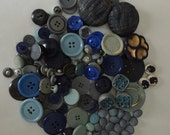Collection of Vintage Buttons-Various Materials-Blue and Grey