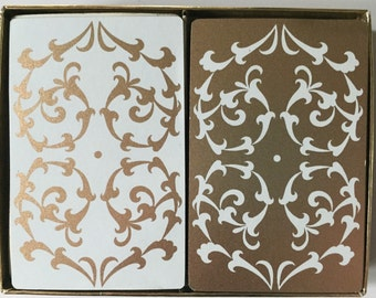 Vintage Lord & Taylor Playing Cards-2 Decks-Gold and Ivory