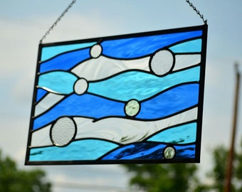 Stained Glass Beach Decor, Stained Glass Window, Contemporary, Window Art, Stained Glass Panel, Glass Art, Beach, Leaded Glass, 'Currents'
