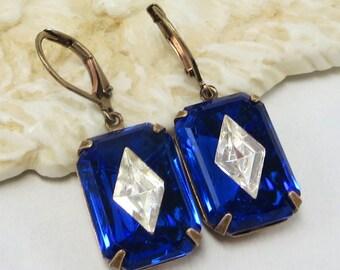 Sapphire Blue Art Deco Earrings RARE Vintage Glass Jewels September Birthstone