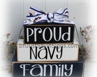 Proud Navy Family Itty Bitty Stacking Blocks