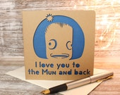 I love you to the Mun and back a Papercut Valentine Kerbal Space ProgramGreetings Card